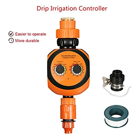 Electronic Water Timer, Pathonor Irrigation Controller Automatic Garden Irrigation System Water Timer Fits Double Dial Not include 9v Battery (Orange)