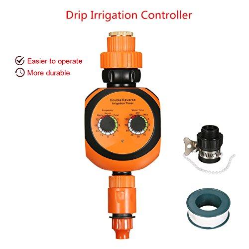 Temporizador riego Pathonor Programador de riego operación de marcado doble con conector universal, correa Temporizador agua para jardin planta