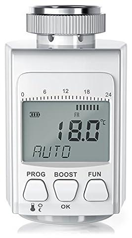 digitales Heizkörperthermostat | bis zu 30% Heizkosten-Ersparnis / Energiespar-Regler | Radiator Thermostat | inkl. 3 Adapter (Danfoss-Ventile RA, RAV, RAVL) | intelligenter