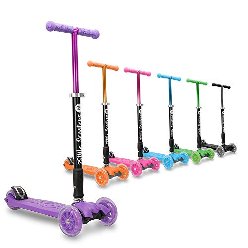3Style Scooters® RGS-2 Monopattino a 3 Ruote per Bambini - Perfetto per i Bambini con più di 5 Anni - Dotato di Ruote LED Luminose, Design Pieghevole, Maniglie Regolabili e Struttura Leggera - Viola