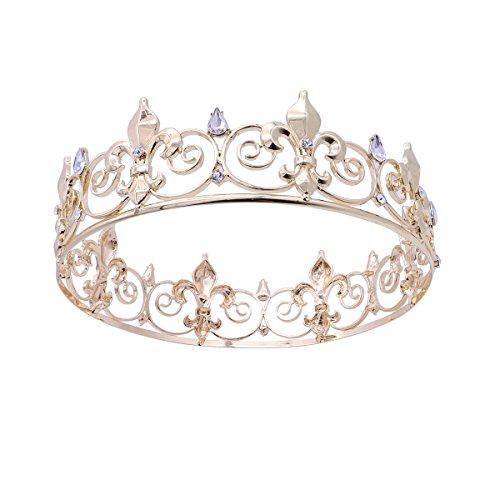 Frcolor Herren Krone, Kristall Voll Runde König Crown für Prom Party Hüte Kostüm Zubehör (König Neptun Kostüm Kind)