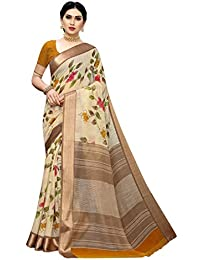 Anni Designer Women's Brown Color Satin Patta Flower Printed Saree With Blouse Piece (MANIYTA BROWN_Free Size)