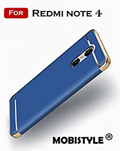 For Xiaomi Redmi Note 4 - MOBISTYLE® 3-in-1 SHOCKPROOF* Dual Layer Thin Back Cover Case [as per Indian Redmi Note 4 Model] (Blue with Gold)