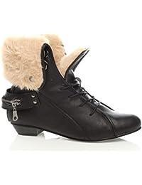 Femmes Talon Bas Lacets démodée Richelieu Fourrure Bottines Chaussures  Pointure 9c2977b01ea9