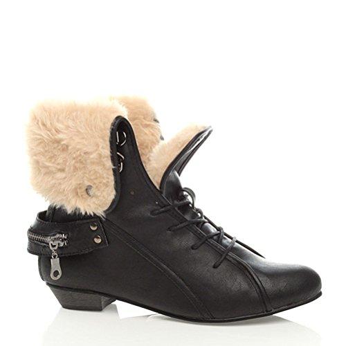 Damen Winter Warm Schnalle Schnüren Fell Stulpe Stiefeletten Schuhe Größe Schwarz