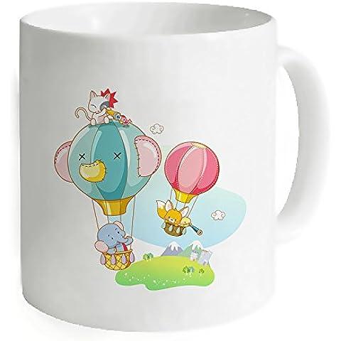"""okoukiu elefante design bianco mug–Tazza da tè personalizzato regalo per compleanno, Natale e nuovo year-3.7""""X 3.1"""", 11oz"""