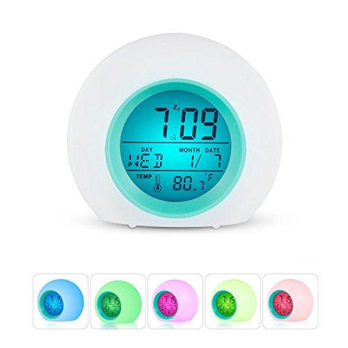 Wecker LED Multi Alarm Digital Sonnenaufgang aufwachen Wecker mit Multi-bunten Nachtlicht für Erwachsene, Kinder, Kleinkinder, Jugendliche (blau)