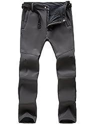 M.Baxter Pantalones de Montañismo Otoño e Invierno de Esquí Impermeable a Prueba de Viento de Concha Blanda Pantalones Espesantes para Hombre