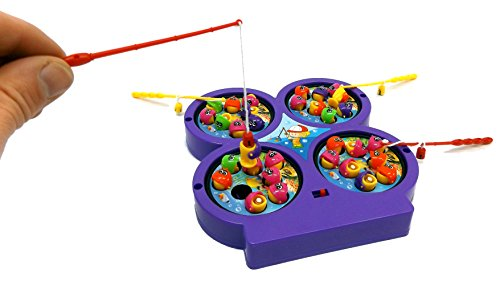 Brigamo 1471510 - elektrisches Angelspiel für Kinder, 32 Fische, 4 Angelruten, 20 cm thumbnail