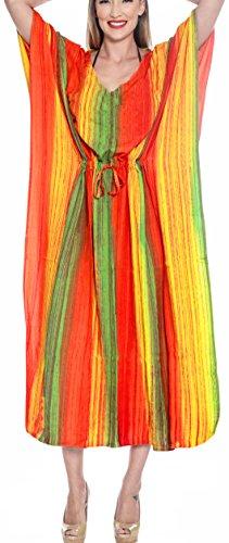 LA LEELA Damen Rayon überdimensional Maxi Tie Dye Kimono Kaftan Tunika Kaftan Damen Top Freie Größe Loungewear Urlaub Nachtwäsche Strand jeden Tag Kleider Grün_L255 - Tie-dye-tunika
