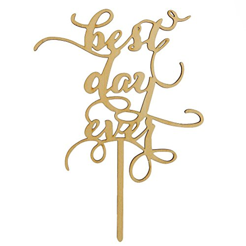 FENICAL Best Day Ever Wood Cake Topper Anniversary Engagement Decoration Wedding Favors