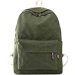 Mochila, Manadlian Bolso de mujer Mochila de viaje escolar Bolsos de hombro de lona para niñas (30cm(L)*40(H)*15cm(W), Ejército Verde)