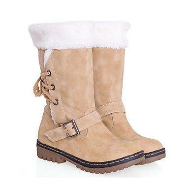 RTRY Scarpe Donna Pu Autunno Inverno Comfort Novità Moda Stivali Stivali Tacco Piatto Rotondo Mid-Calf Toe Boots Lace-Up Per Office &Amp; Carriera Vestire US5.5 / EU36 / UK3.5 / CN35