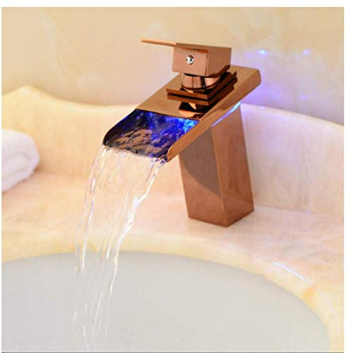 Edelstahlhahn Weiße Chrombadhahnfaucet Copper Rose Gold Led Basin Hot And Cold Waterfall Mixing Valve Temperature Control Three Color Change Sink -