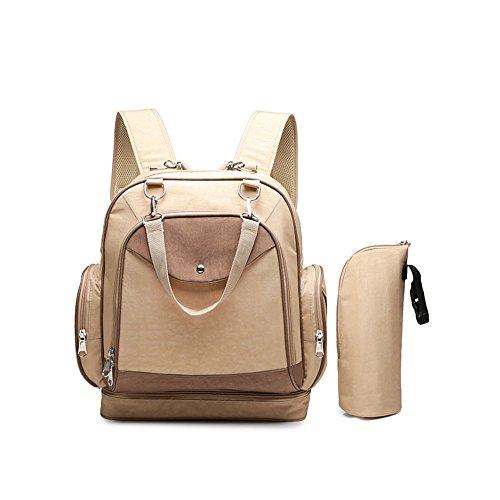 Wickeltasche Rucksack Mode Multifunktions Schulter Mamabeutel Diagonal Mobile Baby Ausflug Rucksack, Khaki Farbe