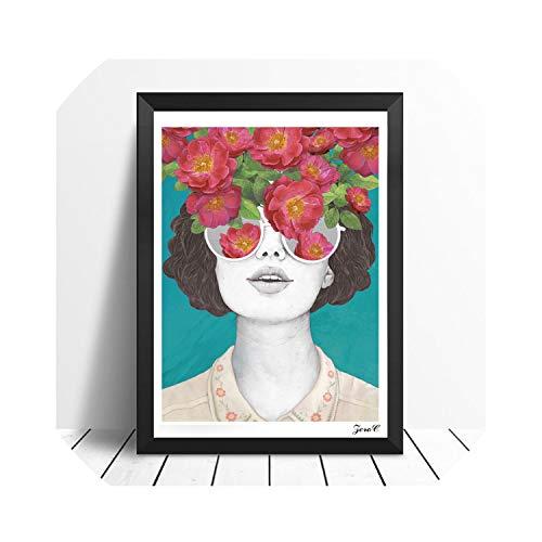 Margot-Charismatic-Shop Wall Art Canvas Wandbild Poster und Drucke, Blumenmädchen, Hochformat, Leinwandbild, Bilder für Wohnzimmer, Heimdekoration, Multi, 30x40cm No Frame