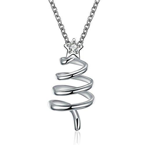 Weihnachten Geschenk Schmuck für Damen Kette Silber Weihnachtsbaum Sternform Anhänger Halskette Kettelänge (Kurze Trachten Ohrringe Zahn)