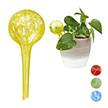 Relaxdays Globes Set of 2, Regulated Irrigation for Plants, Office & Holiday Watering Aid, Yellow, Diameter of ball: app. 6 cm