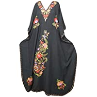 Mogul Interior Women Kaftan Maxi Dress Embroidered Black Kimono Lounge Wear Caftan OneSize