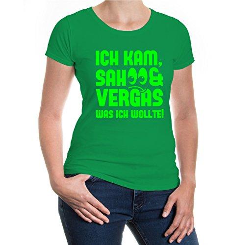 buXsbaum® Girlie T-Shirt Ich kam, sah und vergas was ich wollte Kellygreen-Neongreen