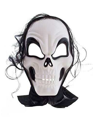 Karnevalsbud - Kostüm Accessoires Zubehör Horror Maske Alien Zombie Totenkopf mit Kapuze und Haaren, Mask Skull with Hair, perfekt für Halloween Karneval und Fasching, Weiß (Alien Schwanz Kostüm)