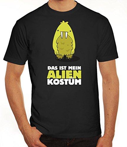 Fasching Karneval Herren T-Shirt mit Das ist mein Alien Kostüm 8 Motiv von ShirtStreet, Größe: L,schwarz