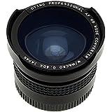 Objectif Ultra Grand Angle 0,4X avec Macro pour Caméscopes et Caméras Vidéo. Inclus Adaptateurs pour 37mm, 30,5mm, 30mm et 25mm.