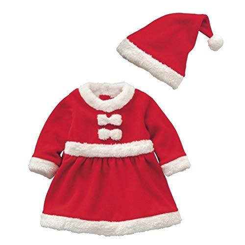 BESTOYARD 2 Stücke Junge Mädchen Baby Weihnachtsmann Kostüm Set mit Weihnachtsmütze Baby Nikolausmütze Weihnachten Neugeborene Jumpsuit Puppen Strampler - 80cm (Rot)