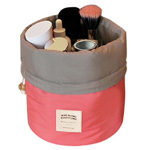 Aulei Runden Kulturbeutel Kordelzug Waschbeutel Make up kosmetische Reisetaschen Wash Bag Rosa Rot