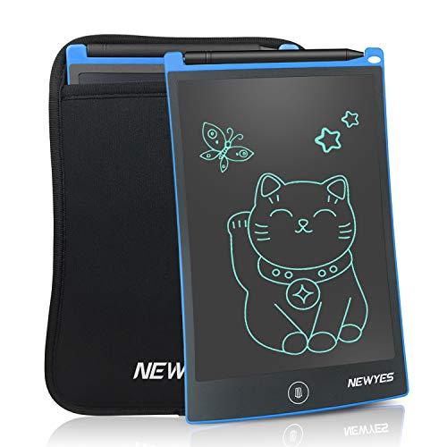 NEWYES NYWT850 Tablette d'Ecriture LCD avec Housse, 8,5 Pouces de Longueur - Différentes Couleurs(Bleu+ housse)