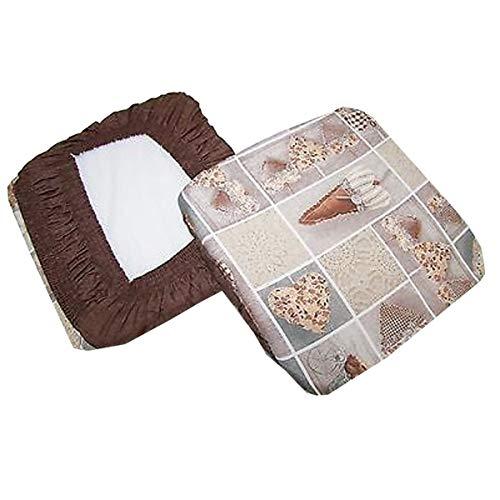 6 cuscini sedie cucina coprisedia imbottiti cuore allungato elastico marrone