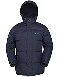 Mountain Warehouse Snow Mens Jacket - Water Resistant Rain Coat, Adjustable Hood, Hem & Cuffs Winter Jacket - Ideal in Cold Weather