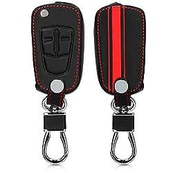 kwmobile Autoschlüssel Hülle für Opel Vauxhall - Kunstleder Schutzhülle Schlüsselhülle Cover für Opel Vauxhall 2-Tasten Klappschlüssel Autoschlüssel - Rallystreifen Sidelines Design Rot Schwarz