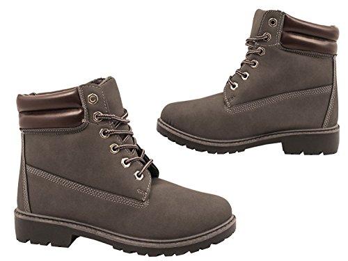 Elara Damen Stiefeletten | Profilsohle Schnürer | Worker Boots | Warm Gefüttert | chunkyrayan Grau Hamburg