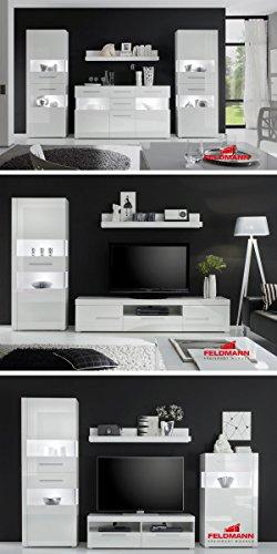Wohnwand Anbauwand 440901 weiß / weiß Hochglanz 4-teilig - 3
