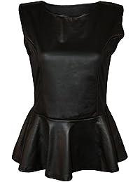 Frauen plus Größe Wet-Look pu glänzenden langen Kurzarm-Kurz Midi-Kleid