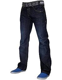 New Mens Crosshatch Straight Leg Denim Jeans Designer Pants with Free Belt