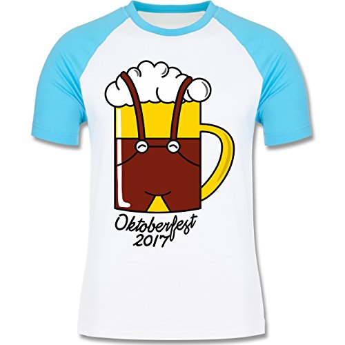 Oktoberfest Herren - Bierkrug mit Lederhose Oktoberfest 2017 - zweifarbiges Baseballshirt für Männer Weiß/Türkis