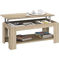 Habitdesign 001639F - Table basse relevable Habitdesign avec porte-revues intégré, chêne Candian, 102 X 50 X 43/54 cm