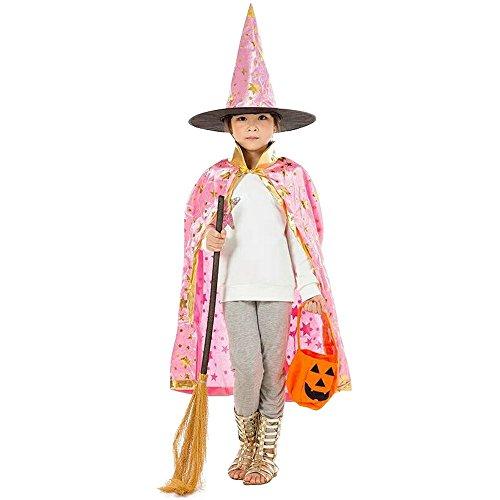 Vertvie Kinder Halloween Kostüm Kap Robe mit Hut Hunpta Zauberer Hexe Umhang für Jungen Mädchen (80CM, Rosa)