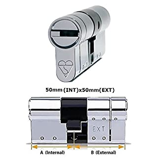 Avocet ABS High Security Euro Cylinder - Anti Snap Lock - Sold Secure Diamond Standard - 3 Star - Chrome 50mm(INT)x50mm(EXT)