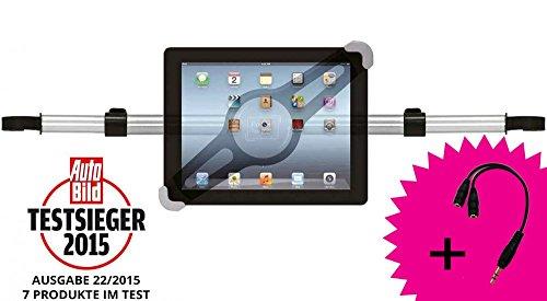 Girafus Relax H3 Universale Tablet Auto Kfz-Kopfstützen-Halterung für Rücksitz für 9-10-11 Zoll Tablets - iPad, Galaxy Tab, Fire HD 10 – Mittig platzierbar für optimale Sicht von der - Ipad 3 Auto-fall