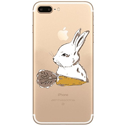 Sycode Custodia per iPhone 8 Plus,Cover per iPhone 8 Plus,Silicone Trasparente Case per iPhone 7 Plus,Liquido Cristallo Chiaro Carina Divertente Motivo Giallo Leone Morbida Flessibile Silicone Gel Ant Coniglio Ravanello