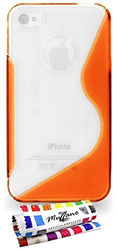 """Coque Semi-Rigide Ultra-Slim APPLE IPHONE 4S [La Sport Case Premium] [Violet] de MUZZANO + 3 Films de protection écran """"UltraClear"""" + STYLET et CHIFFON MUZZANO® OFFERTS - La Protection Antichoc ULTIME Orange"""