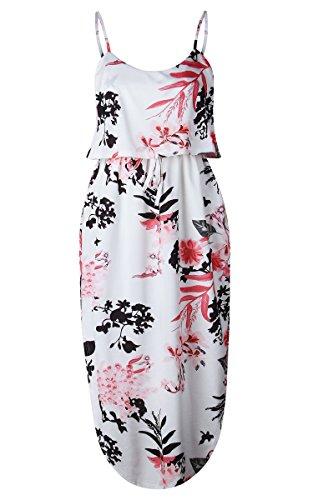 ECOWISH Damen Elegant Ärmellos Maxikleid Blumenmuster Sommerkleid Lang Schulterfrei Partykleider mit Schlitz 0872Weiß M