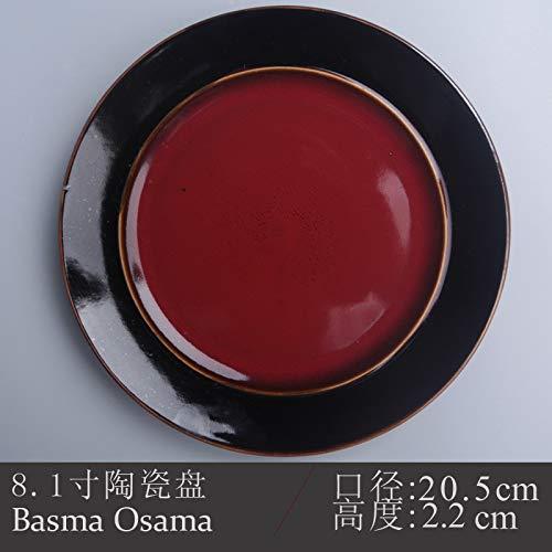 YUWANW Ceramics 7-8 Inch Round Dish Home Plate Creative Personality Western Dish Plate Flat Plate Cutlery Japanese-Style Fruit, Dark Burgundy 8.1 Inch
