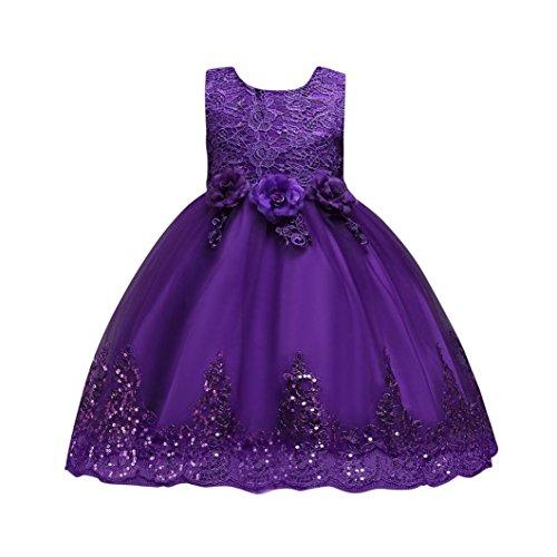 d Yesmile Baby Girl Blumen Kinder Elegant Prinzessin Tutu Kleid Festliche Partykleid Hochzeits Kinder kleider Brautjungfern Ballkleid (120, Lila) (Kind Lila Tutu)