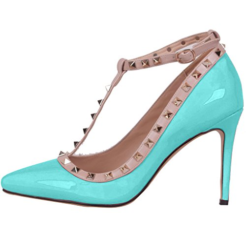 Calaier Damen Caof 8.5CM Stiletto Schlüpfen Pumps Schuhe Blau