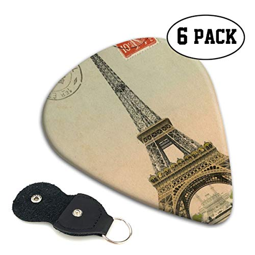 Cavdwa Paris, France, Eiffel Tower, Love City, Retro Customized 6-Piece Guitar Picks 0.96 Mm, 0.71 Mm,&0.46 Mm Fashion for Electric Guitar, Acoustic Guitar, Mandolin, and Bass