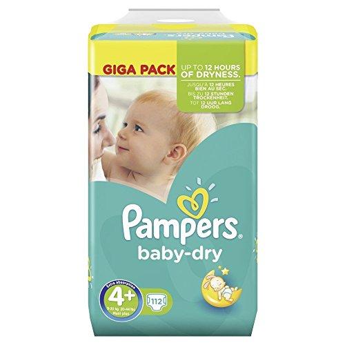 Pampers Baby Dry Größe 4+ Maxi 9-20kg Giga Pack, 4er Pack (4 x 112 Windeln)
